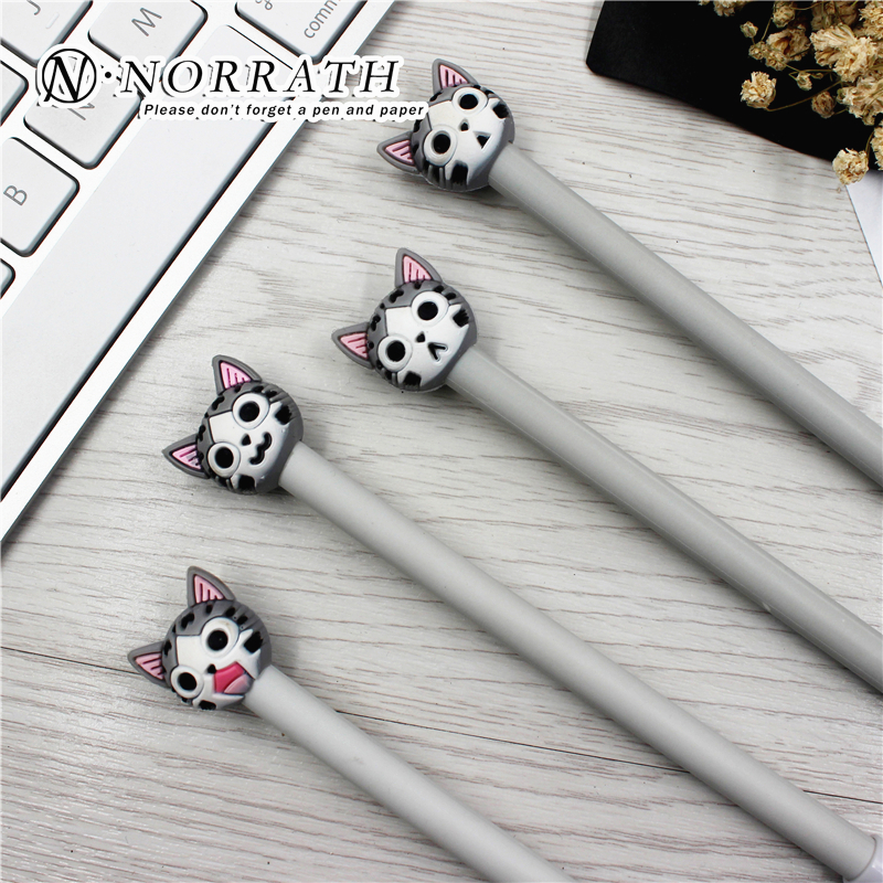Kawaii Stationery Cute  Plastic Ink Gel Pen Cartoon Cat Pens For School Writing