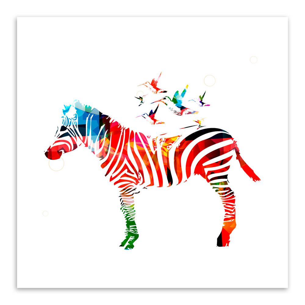 Sodobna divjad, barvita zebra risanka živali A4 velik umetniški - Dekor za dom - Fotografija 3