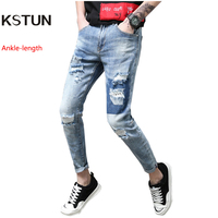 Men S Jeans Ripped Broken Man Holes Retro Summer Stretch Light Blue Hiphop Patched Punk Style