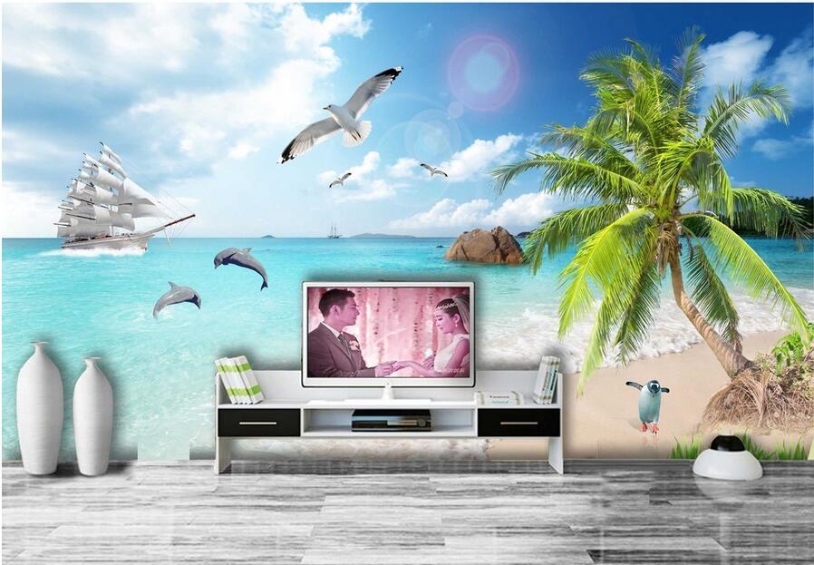 3d Wallpaper Custom Mural Non Woven 3d Room Wallpaper Ocean Scenery Coconut  Palm Beach Painting