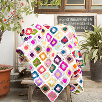 Colorful Handmade hook flowers cotton Lace Chic Crocheted Blanket / Many Uses mat Pads table cloth /Fashion Unique Gifts