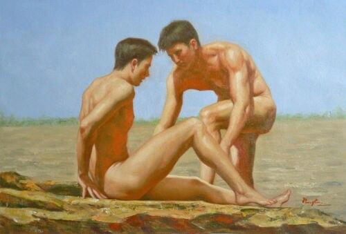 Originele Olieverfschilderij Homo Interesse Naakt Mannen -5044