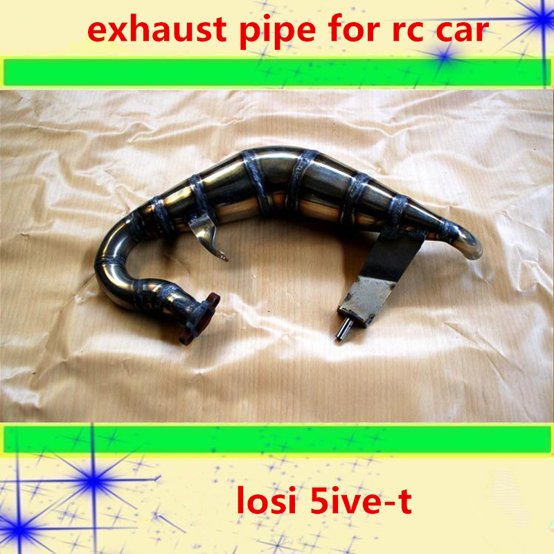 Rc car exhaust pipe stainless steel handmade tune pipe assembly for 1/5 rc losi 5ive-t remote control gasoline truck toys model