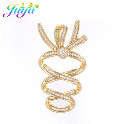 Juya DIY Jewelry Finding Micro Pave Zircon Decoration Fastener Connectors Fit Women Handmade Pearls Jewelry Making