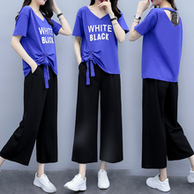 2019 Summer 2 Piece Matching Set Blue Tracksuits for Women Outfits Plus Size 3xl 4xl 5xl Top and Pants Suits Letter Clothing