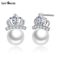 100 925 Sterling Silver Vintage Crystal Crown AAA Australia Cubic Zircon Earrings Fashion Women Simulated Pearl