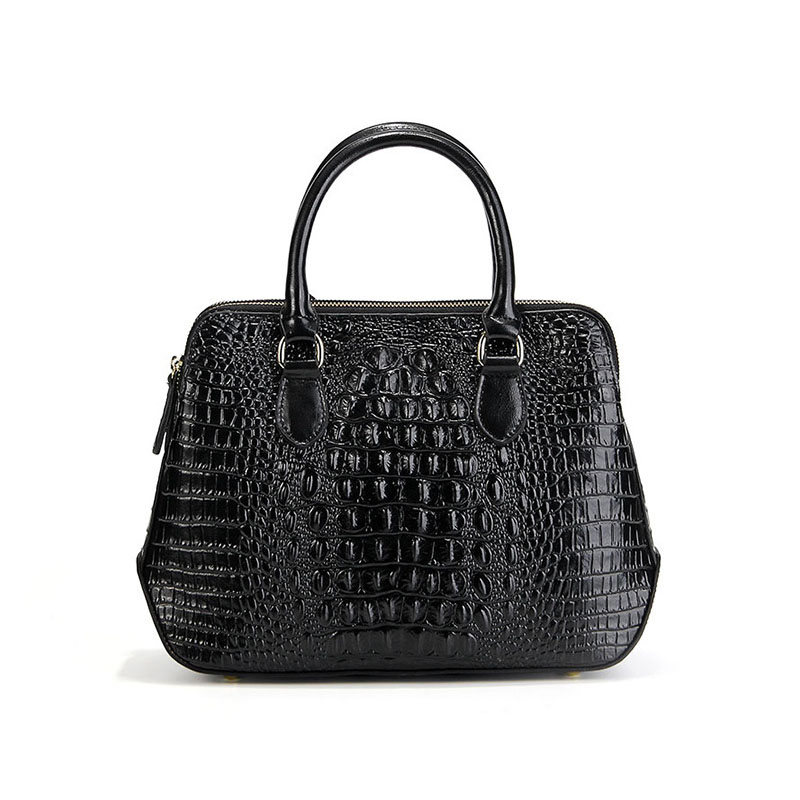 New cross-section square leather handbag Europe and the United States fashion luxury crocodile pattern shoulder Messenger leathe europe and the united states new leather cross section square female package two layers of leather fashion shoulder diagonal zip