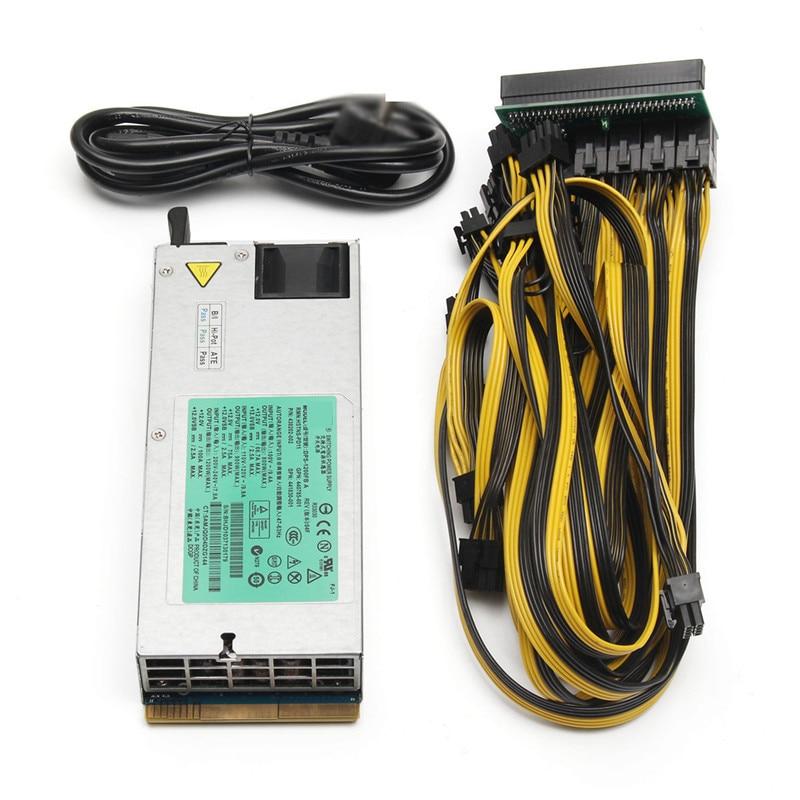 200-240 v 1200 w Mining Mineur Alimentation Avec Breakout Adaptateur 12 Câbles pour DELL DPS-1200MB Pour L'ethereum composants informatiques