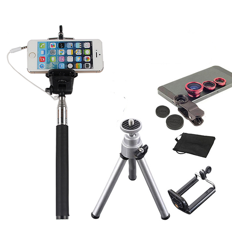 6in1 Phone Camera Lenses Kit Fish Eye Wide Angle Macro Lens Selfie Mini Tripod For iPhone 6 6s 7 Samsung Galaxy note S 2 3 4 5 7