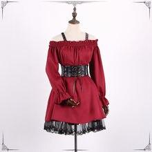 Vintage Long sleeves Gothic Lolita dress Off shoulder Renaissance Dress  Lace cross dress classic steampunk victorian dress 2006f29b3e39