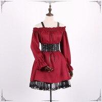 Vintage Long sleeves Gothic Lolita dress Off shoulder Renaissance Dress Lace cross dress classic steampunk victorian dress