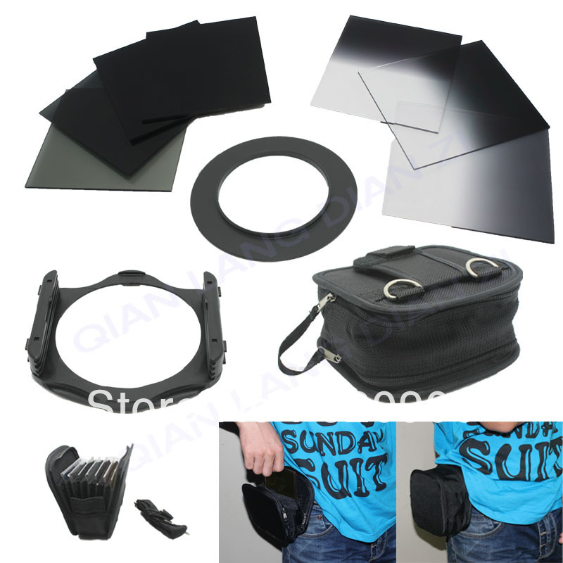 ФОТО 100% GUARANTEE 6 pcs ND2/ND4/ND8 + Graduated ND 2 4 8 filter + 55 mm ring Adapter + Filter wallet Case Bag set for cokin p