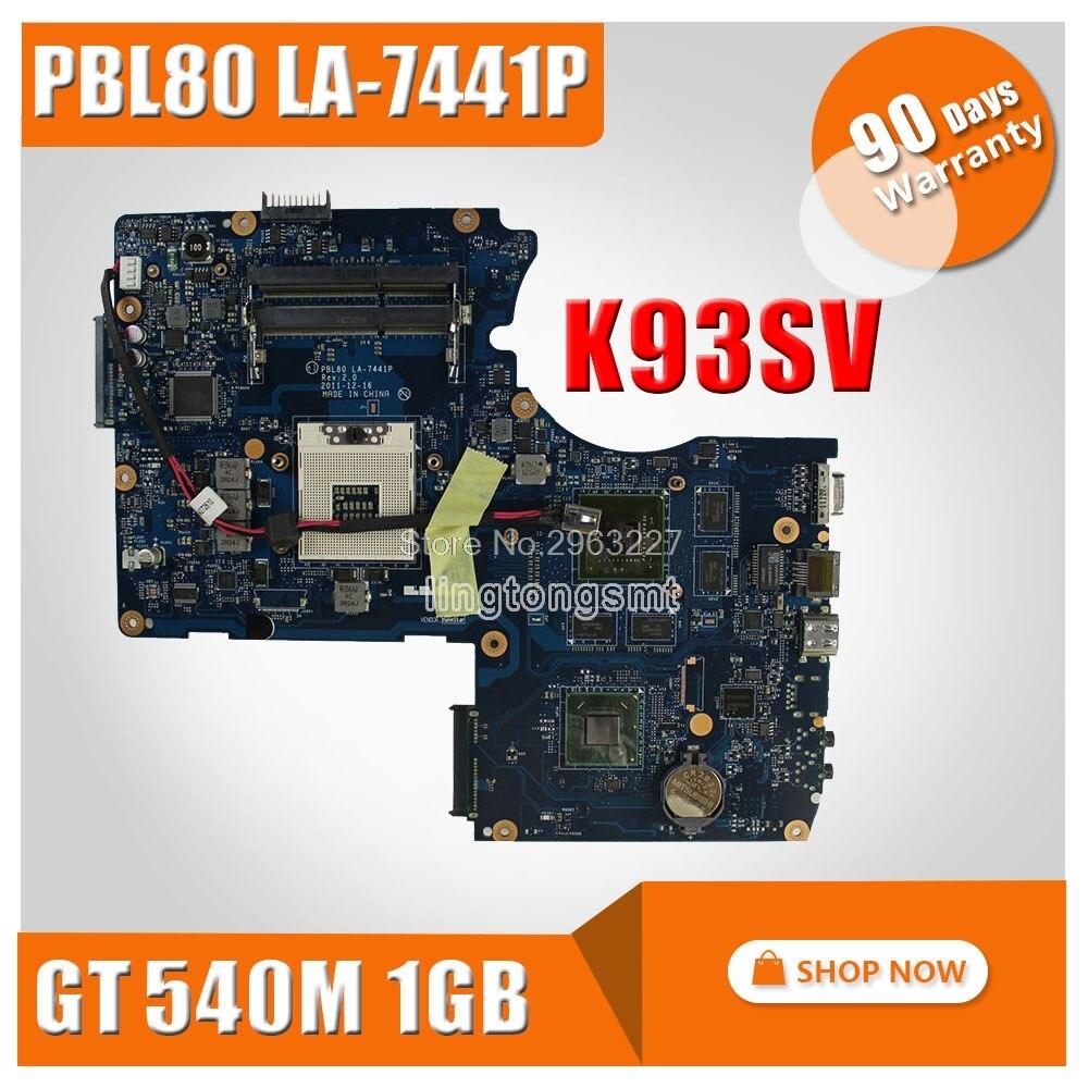 все цены на FOR ASUS Laptop Motherboard K93S K93SV X93SV X93S motherboard Genuine HM65 Mainboard PBL80 LA-7441P N12P-GS-A1 90 days warranty онлайн