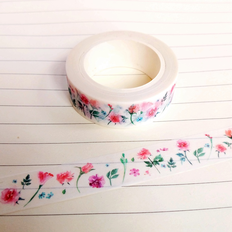 1pc DIY Japanese Paper Pink Flowers Washi Tape Paper Masking Tapes Adhesive Tapes Sticke ...
