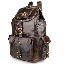 Nesitu Vintage Dark Coffee Large Capacity Genuine Leather Women / Men Backpacks Cowhide Men Travel Bags #M7268