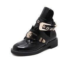 Европейский Известный бренд женские ботинки с шнурками с вырезами ботильоны для женщин металлической пряжкой открытым Ботинки Martin