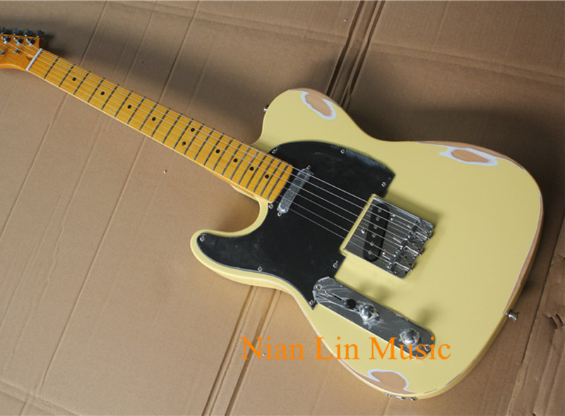 Popular te Electric Guitar,Left-hand and Cream Color,In Old Style,Black Pickguard,Vintage Maple Fretboard and can be Customized(China)