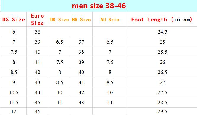 men shoes size chart