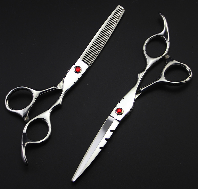 Professional 6 Inch & 5.5 Inch 440c 9cr13 Thinning Hot Shears Scissor Cutting Barber Cut Hair Scissors Set Hairdressing Scissors