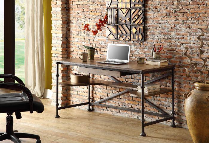 Bois américain fer forgé tables de bureau ordinateur de bureau