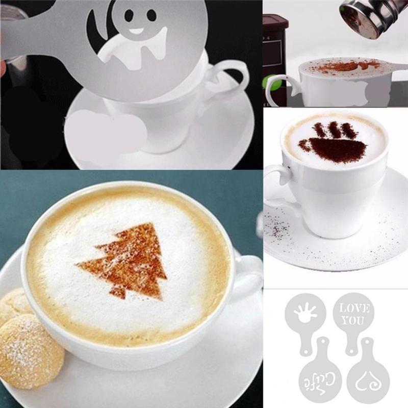 Superb Coffee Stencils Reusable Diy Plastic Cake Flower Coffee Spray Funny Birthday Cards Online Kookostrdamsfinfo