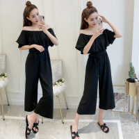 Solid Casual Ruffles Jumpsuits Plus Size Elegant High Waist Slim Off Shoulder One Piece Pants Sexy Playsuit Palazzo Pants Capris