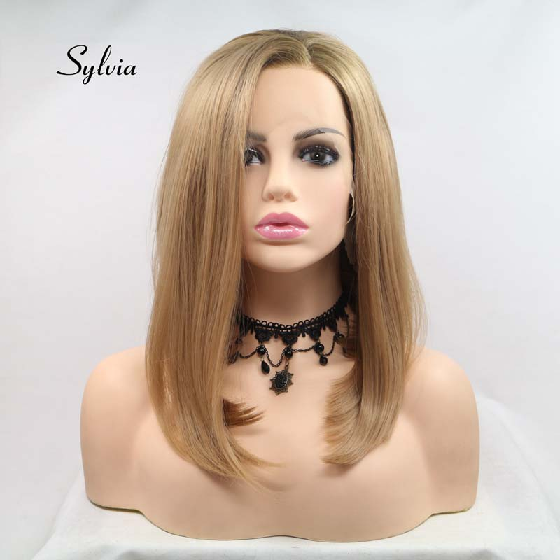 Sylvia Blonde Ombre Brown Wigs Short Straight Bob Wigs Synthetic Lace Front Wigs Heat Resistant Fiber Hair Wigs Side Parting