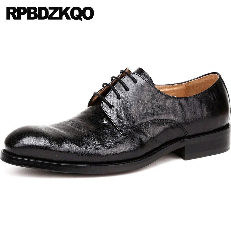 Oxfords marrón Boda Mano Zapatos Los Pista Lujo Marca Hombres Real Hecho Cuero Italiano Punta Vestido De Oficina Negro Negro Formal Europea A UwqnACxCH1