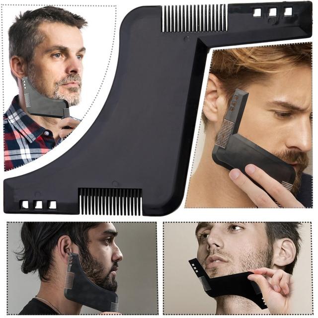 Los hombres conformación barba estilo plantilla peine transparente de los hombres barba peines herramienta de belleza para el cabello barba Trim plantillas de nuevo llegada