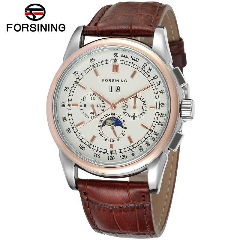 Fashion FORSINING Men Luxury Moon Phase Genuine Leather Calendar Watch Automatic Mechanical Wristwatch Gift Box Relogio Releges fashion sewor men luxury brand auto date leather casual watch automatic mechanical wristwatch gift box relogio releges 2016 new