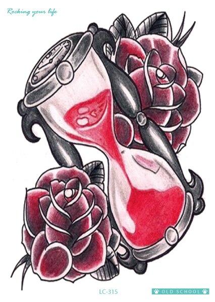 21x15 Cm Body Art Tatoo Sticker New Designer Keren Merah Rose Jam