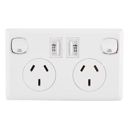 Double USB 2 Switch Electrical Wall Socket Australian AU Plug Home Power Point Supply Plate Home Improvement Tools