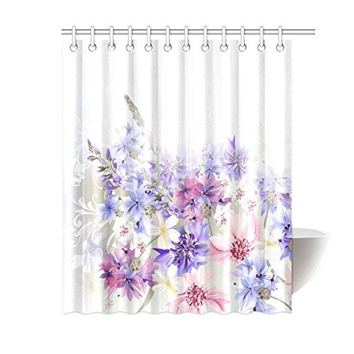 Aplysia Lavender Shower Curtain Purple Pink Cornflowers Classic Gentle Floral Art Wedding Fabric Bathroom Decor With Hooks In Curtains From Home