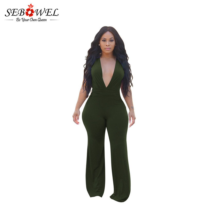SEBOWEL 2018 Long Black Rompers Womens Jumpsuit Winter Autumn Party V-neck Loose Club Pants One piece overalls