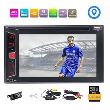 Wireless Reverse Camera Included! 2Din Car DVD CD Player Stereo Support GPS Navigation Bluetooth MP3 MP4 FM/AM Radio 1080P Video