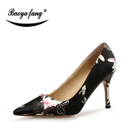 BaoYaFang New Sexy Printing ladies wedding shoes Bride party dress shoes for woman 8cm Thin Heel Pointed Toe fashion shoes
