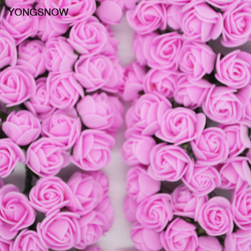 144 шт. 2 см мини пена розовыми цветами DIY помпоном венок Декоративные свадебный цветок для дома Свадебные украшения Скрапбукинг поддельные роза