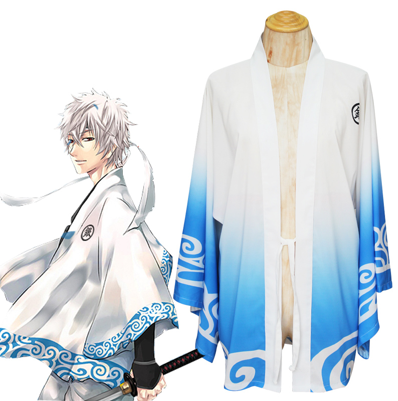 NEW Clock Silver Soul Gintama Sakata Gintoki Cosplay Costume Trench Chiffon Cape Pretty