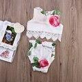 Классический Стиль Девушка Новорожденный Одежда Лук/Цветы 2 шт. Комплект Одежды Милый Ребенок Cirls Комбинезон