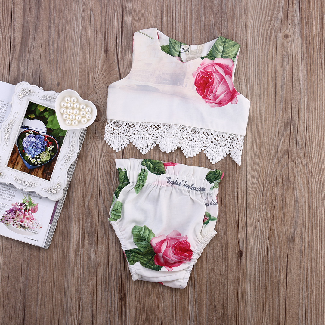 Classic Style Newborn Baby Girl Clothes Bow/Flowers 2 pc Clothing Set Cute Infant Cirls  ...