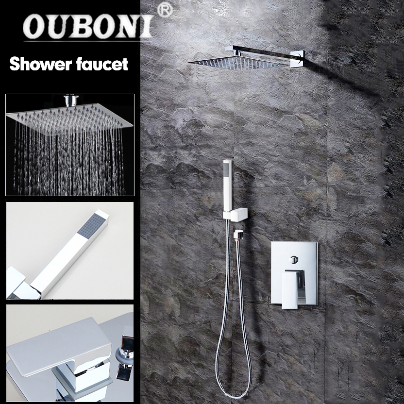 Ouboni Chrome Solid Brass Silver-plated Finish Bathroom Shower Set Lotus Rain Shower Head Bath Shower Mixer Hand Shower Faucet Bathroom Fixtures Home Improvement
