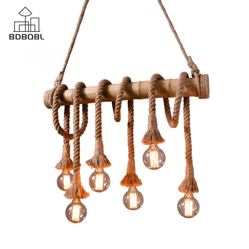 BDBQBL Country Hemp Rope Pendant Lights 3/6 Heads E27 Bulb Creative Hanging Lamp Rope Lamp for Bedroom Dining Room Hanglamp vintage 6 heads rope pendant lights retro lamp bedroom pendant light dining room pendant lamp hand made knitted hemp rope lights