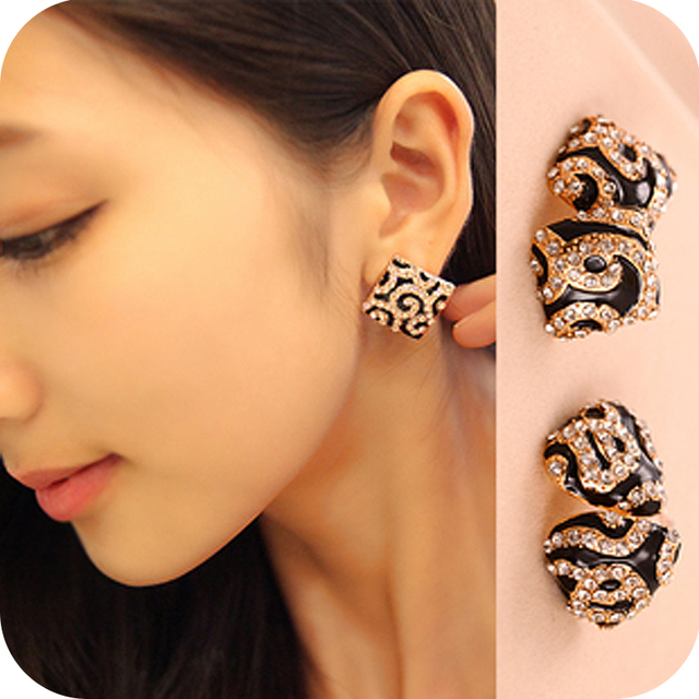 Fashion  buckle vintage  leopard print crystal triangle square earrings stud free shipping