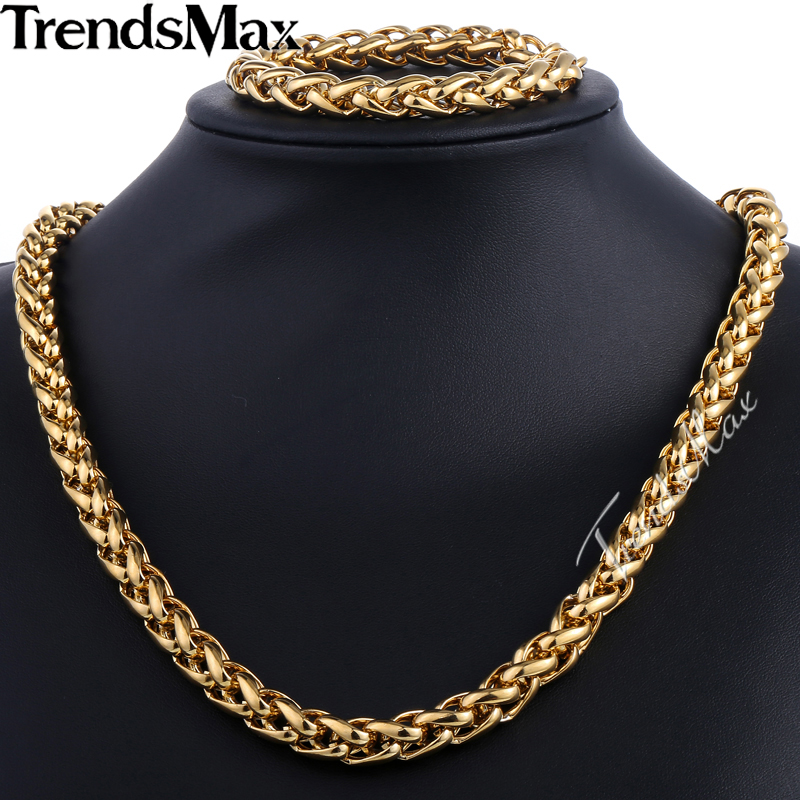 Trendsmax Brand Jewelry Set 9.5mm Gold-color Wheat Braided Link Stainless Steel Necklace Bracelet Mens Girls Chain Fashion KS215 emanco stainless steel jewelry femme rose gold color link chain necklace with cute pendants simple brand design fashion jewelry