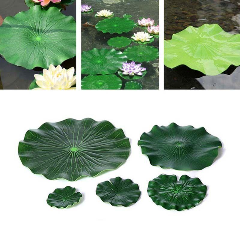 10pcs 18CM Artificial Lotus Leaf Floating Pool Decoration Water Decorative Aquarium Fish Pond Scenery Lotus Leaf For Decoration in Artificial Plants from Home Garden