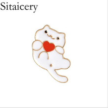 Sitaicery Pins And Brooches Cute White Black Cat Couple Enamel Pin Badges Hat Backpack Accessories Lovers Jewelry Gift For Lover black hat design cute backpack