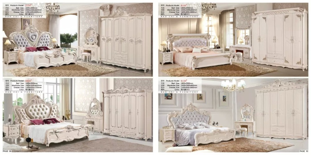 Modern European Solid Wood Bed Fashion Carved  Leather  French Bedroom Set Furniture King Size HC005