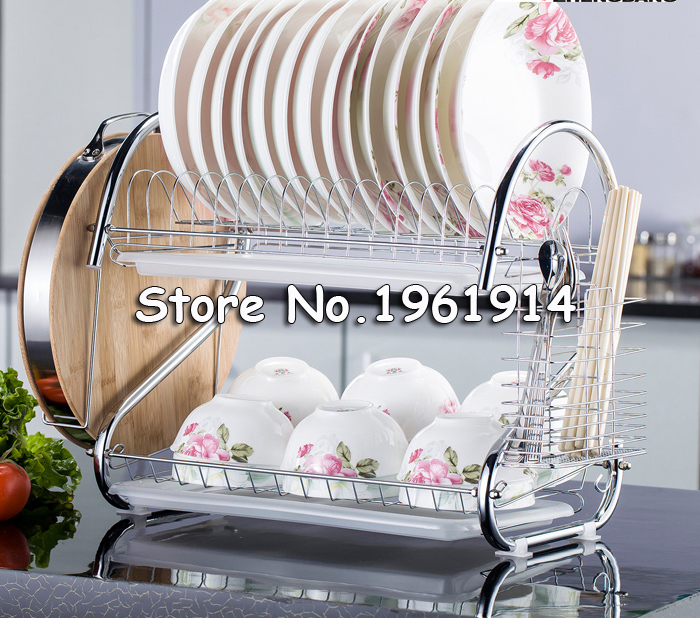 Free Ship Dish Rack Set 2 Tier Chrome Stainless Plate Dish