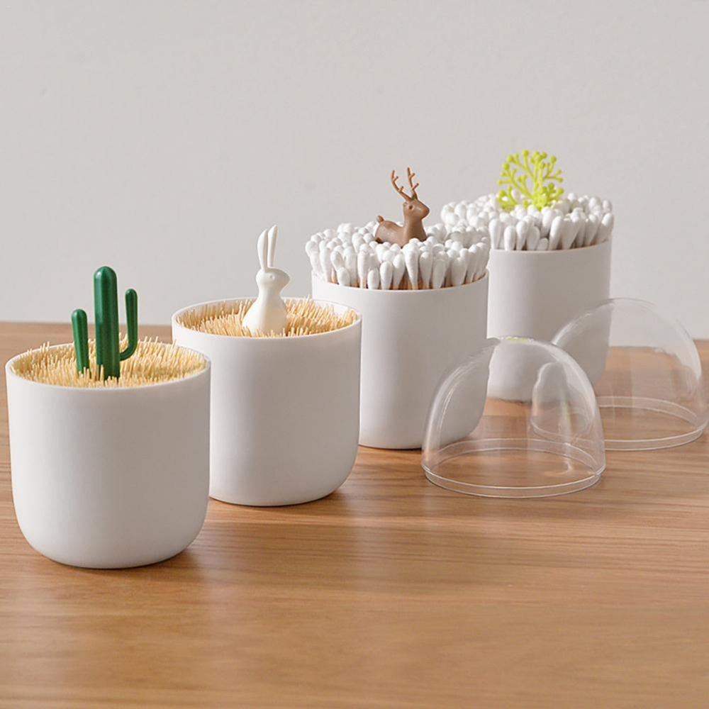 Creative Storage Box Cartoon Toothpick Cotton Swab Animal Plant Multifunctional Dustproof