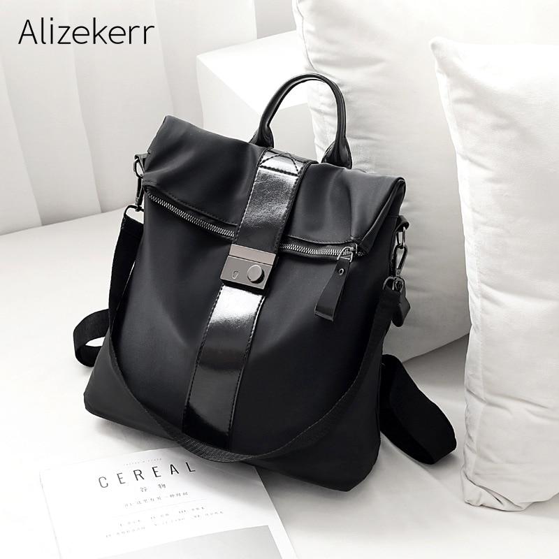 Korean Oxford Backpack Women 2019 New Summer Laptop Anti-theft Waterproof Nylon Multifunction Shoulder School Bag Hasp Female